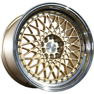 16x8 Gold Aodhan Ah05 Wheels 4x100 4x4 5 15 Fits Ford Mustang 4 Lug Only