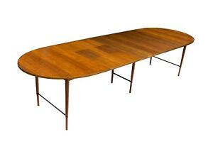 Oval Walnut Dining Table Brass Paul Mccobb Calvin Connoisseur Sacks 6 Leaves