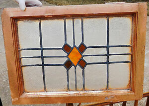 23x16 Vtg Art Deco Copper Slag Leaded Stained Glass Window Antique Molded Frame