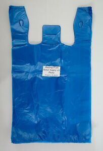 1000 Qty Blue Grocery Plastic T shirt Bags W Handles Supermarket Retail