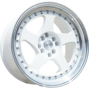 16x8 White Aodhan Ah01 Wheels 4x100 4x4 5 15 Fits Ford Mustang 4 Lug Only