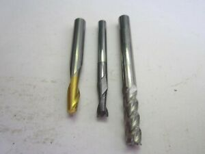 Assorted Lot Of 3 Rh Solid Carbide Square End Mills 3 16 1 4 New
