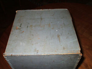Early Extremely Rare 1818 Boston Wooden Seed Box Original Blue Paint Stencil