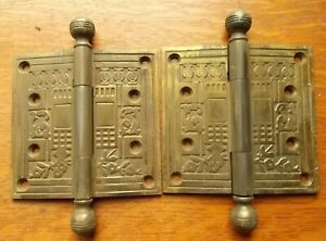 Two Antique Fancy Victorian Eastlake Brass Plated Cast Iron Door Hinges 4 X 4