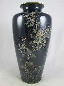 Antique Japanese Black Cloisonne Chysanthemum Vase Large 9 1 2 Meiji Nr