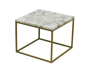 Square Brass And Marble Side Drinks End Table Attributed To Paul Mccobb Calvin