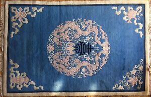 Tibet Antique Hand Knotted Blue Rug 6 Feet X 4 Feet Rare