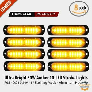 8x 10 Led Amber Yellow Emergency Vehicle Strobe Lights Flash Warning Ip65 12 24v