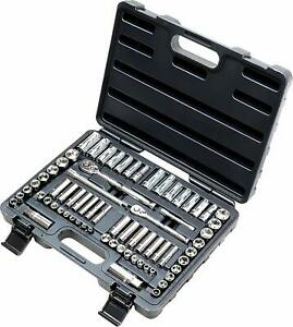 Epauto 69pc 1 4 3 8 Drive Socket Set Sae Metric Tool Ratchet With Hard Case