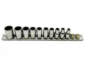 Snap On 12 Point Sae 1 4 Drive Shallow Socket 10pc Set Tmd6 18 W Metal Stand