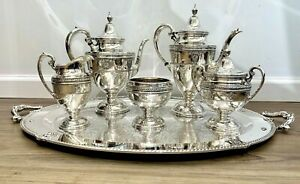 Rose Point By Wallace 5 Piece Sterling Tea Coffee Set W Silver Plate Tray