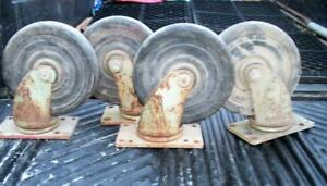 Vtg Set 4 Lrg 7 Swivel Caster Noelting Faultless Factory Cart Wheels Industrial