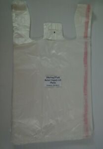 1000 Qty Clear Grocery Plastic T shirt Bags W Handles Supermarket Retail