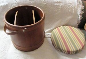 Antique Vintage Large Wooden Bucket With Handle Lapped Wood Bands