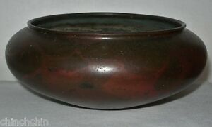 Extraordinary Signed Japanese Bronze Bowl Red Patinated Museum Quality Antique