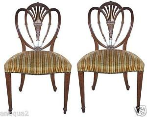 Pairenglish Hepplewhite Styl Shield Back Carved Mahogany Occasional Side Chairs