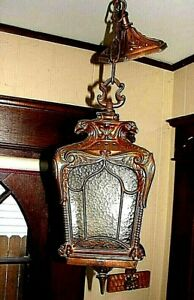 Rare Impressive Hanging Copper Light Fixture Lantern Eagles Very Cool