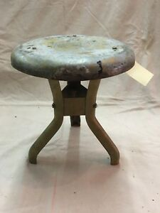 Vintage Old Rustic 3 Leg All Metal Cow Farm Milk Stool Industrial Steampunk B