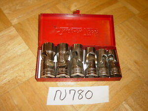 Snap on Tools 6 Piece 1 2 Drive Sae Shallow Swivel Socket Set In Red Metal Box