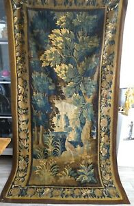 French Antique Aubusson Tapestry 17 Th Century Verdure And Volatiles Birds