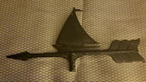 Vintage Weathervane Sail Boat Cast Aluminum Sailboat