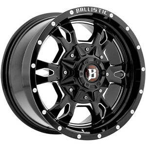 17x9 Black Milled Ballistic Mace 957 Wheels 5x4 5 5x5 12 Lifted Fits