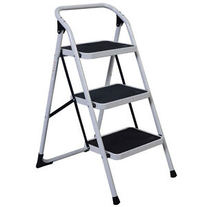 3 step Design Ladder Folding Non Slip Safety Tread Industrial Home Stool Durable