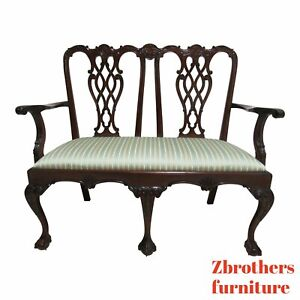 Custom Solid Mahogany Ball Claw Chippendale Settee Carved Bench