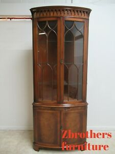 Custom Bevan Funnell Flame Mahogany Chippendale Corner China Cabinet