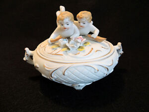 Vintage Bisque Porcelain Putti Twins Covered Bowl Hand Painted Cupid Dish