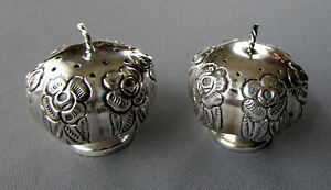 Pair Vintage Sterling Silver Salt Pepper Shakers Hand Chased Roses Mexico