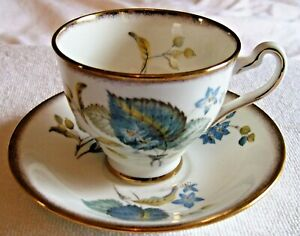 Vintage Bone China Rosina Blue Green Leaf Tea Cup Saucer England