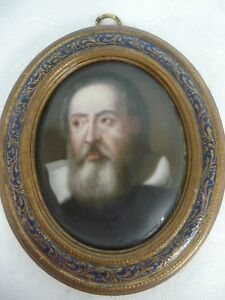Antique Italian Hand Painted Portrait On Porcelain In Wood Frame Galileo