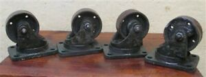 4 Vintage Cast Iron Factory Cart Dolly Wheels Industrial Age Swivel T Free Ship
