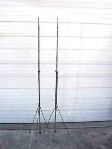 2 Antique Ornate Twisted Iron Lightning Rod Base Stand Rod And Spear Ends Roof