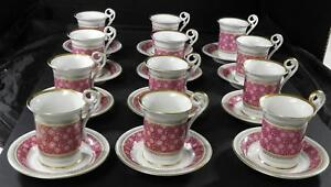 Twelve Antique Paris Porcelain Cups Saucers French Vieux Paris