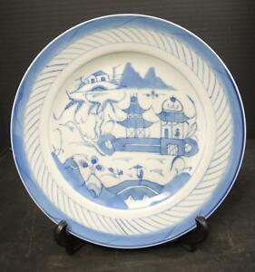 1850 To 1890 Chinese Blue White Canton 9 3 8 Plate 9