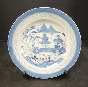 1850 To 1890 Chinese Blue White Canton 9 3 8 Plate 3