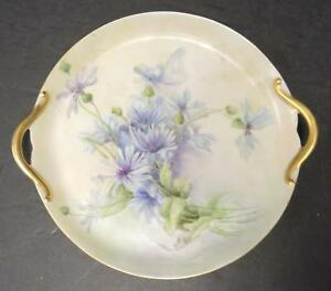 Antique Hand Painted Dessert Plate Blue And Purple Flowers