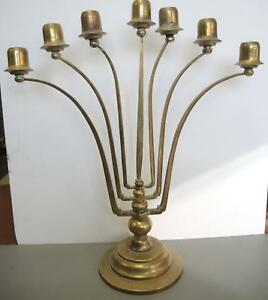 Early 2oth Century Jugendstil Brass Seven Light Candelabra