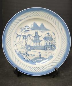 1850 To 1890 Chinese Blue White Canton 9 3 8 Plate 8