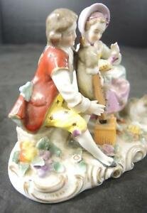 1850s French Porcelain Statue Figurine Man With Bagpipe Woman With Bird
