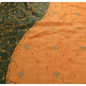 Sanskriti Antique Vintage Indian Saree 100 Pure Silk Hand Beaded Fabric Sari
