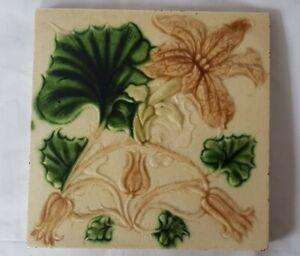 Majolica Floral Design English Victorian 6 Inch Tile From 19th Century