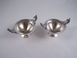 Pair Of Coin Silver Medallion Salts Not Sterling Probably Gorham Neoclassical