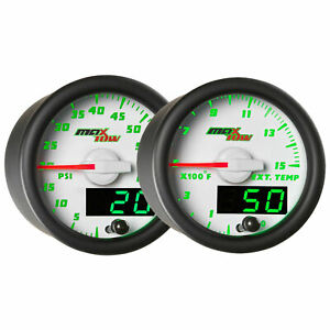 Glowshift White Green Maxtow Gauges Kit 60 Psi Boost 1500 F Egt Pyrometer