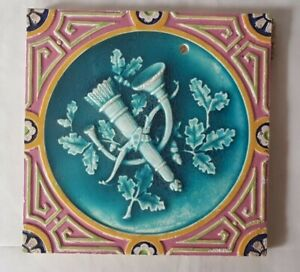 Charming Bow Arrow French Horn Design Majolica Victorian Tile Prob Minton