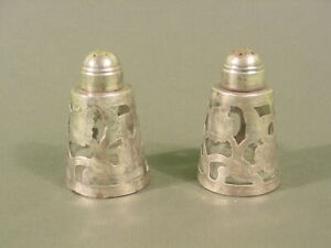 Vintage Mexico Sterling Silver Salt Pepper Shakers Set Of 2 Over Glass Lhm