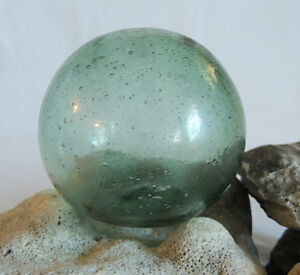 Vintage Japanese Glass Fishing Float Many Bubbles Sand Etching Frosting 5
