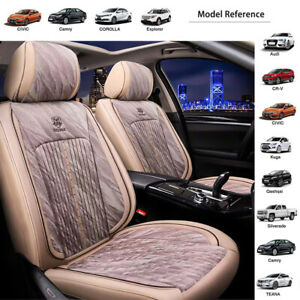 Beige Universal Pu Leather Car Front Rear Seat Cover Pad Cushion Bucket Headrest